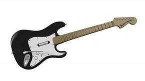 The Rock Band controller doubles as bass and guitar, but the box only comes with one.