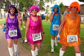 Go-go dancers get ready to go-go near the starting line of the San Diego Rock 'n' Roll Marathon.
