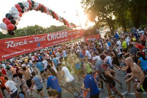 Runners line up at the start for the Chicago Rock 'n' Roll Half Marathon.