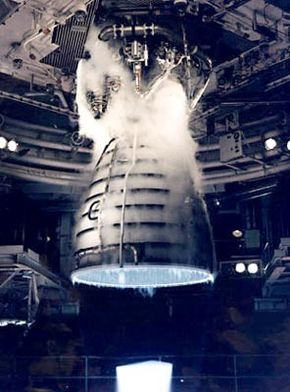 A remote camera captures a close-up view of a Space Shuttle Main Engine during a test firing at the John C. Stennis Space Center in Hancock County, Miss.