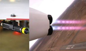 Here, RocketCam (left) mounts to the XCOR Aerospace EZ-Rocket plane. On the right is the view from that RocketCam in flight.