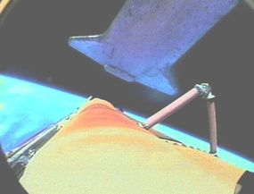 Here, the RocketCam shows a view from the external fuel tank as shuttle releases it.