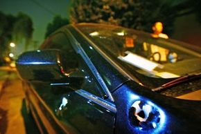 Bullet holes riddle a car involved in a road-rage incident in Los Angeles.