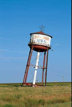 The Leaning Tower of Texas was devised by the owner of the Tower Fuel Stop as an advertising ploy during the glory days of Route 66.