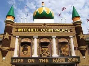The Mitchell Corn Palace in South Dakota is decorated each year with thousands of bushels of corn.
