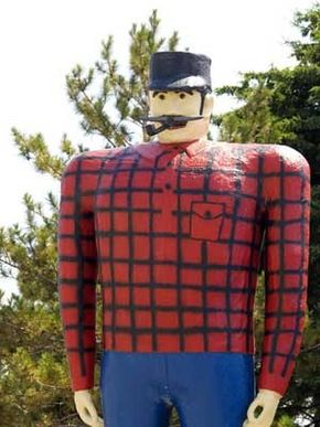 Paul Bunyan statues can be found from coast to coast. This one in Bemidji, Minnesota, is one of the most notable of the big lumberjack.
