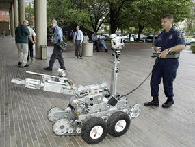 This robot can be maneuvered in a rail station, on a rail car or bus, and even up stairs.