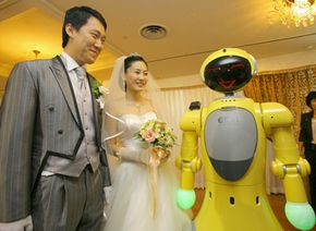Artificial intelligence researcher David Levy predicts that in 50 years, this robot could be the groom rather than master of ceremonies. See more robot images.
