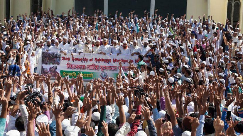 protest Bangladesh, Rohingya