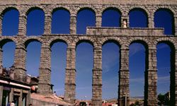 The sprawling aqueduct in Segovia, Spain, is a splendid example of Roman architectural prowess.