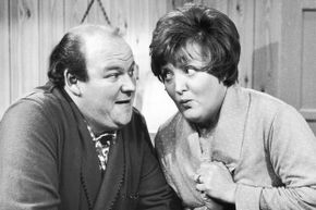 """Roy Kinnear and Patsy Rowlands in 1968 on the Yorkshire TV """"Inside George Webley."""""""
