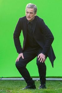 """Actor Peter Capaldi working in front of a screen during filming for an episode of  """"Doctor Who."""""""