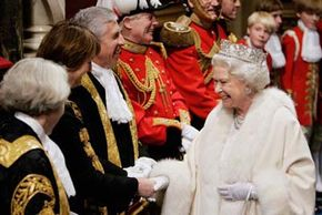 Queen Elizabeth II meets the Lord Chancellor Jack Straw and Tessa Jowell at the House of Lords for the State Opening of Parliament in London, England.