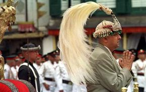 Nepalese King Gyanendra during a swearing-in ceremony June 4, 2001 in Katmandu. Nepal proclaimed its second new king in two days, naming regent Prince Gyanendra as monarch following a mysterious palace massacre.