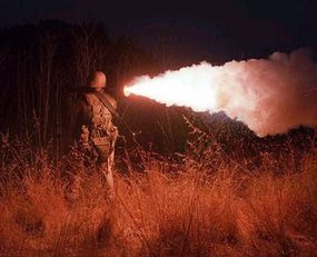 An Opposition Forces Marine fires an AT-4 light anti-tank weapon during a skirmish.
