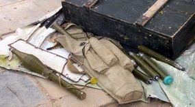 Iraqi RPG-7 Rocket Propelled Grenades are among the caches of weapons found by US Marine Corps (USMC) personnel assigned to E/Company, 24th Marine Expeditionary Unit (MEU), Special Operations Capable (SOC), in the town of Qalat Sukkar, Iraq, during Operation IRAQI FREEDOM.