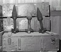 RPG and mortar rounds. A cache of Soviet weaponry seized by U.S. military personnel during Operation Urgent Fury.