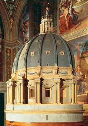 St. Peter's Basilica model of the Dome by Michelangelo is made from wood (17 feet 8 inches high x 12 feet 8 inches in diameter). and is located in St. Peter's Basilica, Vatican.