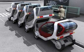 A user would check a City Car out from the front of a rack, travel to his or her destination, and drop the vehicle off at the back of another City Car rack.