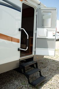 Installation of some types of stairs, like the folding stairs that lead into this RV, should be handled by a professional, in most cases.