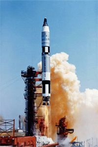 ICBMs aren't just for for nukes. The Titan 2 intercontinental ballistic missile above launched the Gemini manned spacecraft in the 1960s. The Gemini capsule, which carried two astronauts, sits on top of the rocket.