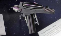 """Seen on Oct. 10, 2009, this replica phaser was on display at """"Star Trek -- The Exhibition"""" in Los Angeles."""