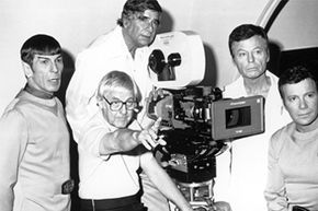 """Gene Roddenberry (second from the left) seemed happy to take this photo -- and half of the royalties from the """"Star Trek"""" theme song."""