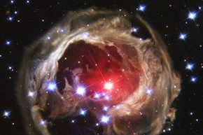 The star V838 Mon's outer surface suddenly expanded so much that it became the brightest star in the entire Milky Way galaxy in January 2002. Then, just as suddenly, it faded.