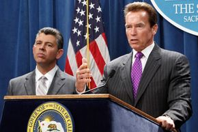 Governor Arnold Schwarzenegger, right, is seen with the newly sworn-in Lieutenant Governor, Abel Maldonado, at the Capitol in Sacramento, Calif., on April 27, 2010.