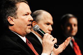 Alaska gubernatorial candidate Ralph Samuels answers a question during the Republican gubernatorial candidates' forum portion of the Republican State Convention held at Centennial Hall in Juneau, Alaska.