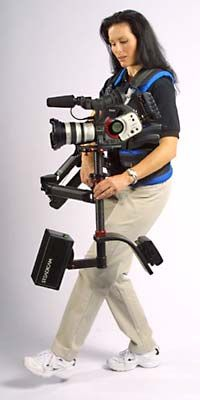 In addition to standard film models, the Tiffen Company makes Steadicams for video cameras. Here, operator Melanie Motiska demonstrates a Provid SK2 Steadicam.