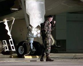 A B-2's landing gear