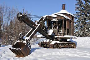 Rusting away -- an old mining steam shovel in Alaska
