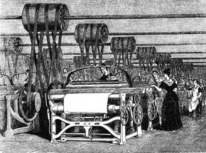 Steam powered the Industrial Revolution. Power looms were used in textile manufacturing in 1844.