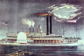 """Steam-powered boats like the one in """"Moonlight on the Mississippi"""" soon replaced vessels driven by sails or manpower."""