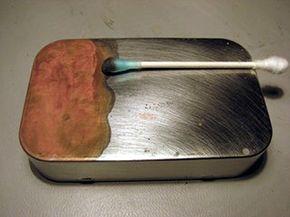 von Slatt uses copper sulfate to copper plate the Altoids tin.