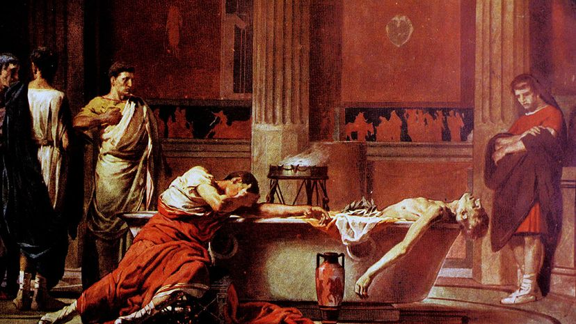 This painting shows the death of Stoic philosopher Seneca. Seneca was a tutor for the emperor Nero who forced him to commit suicide by slitting his wrists. Universal History Archive/UIG via Getty Images