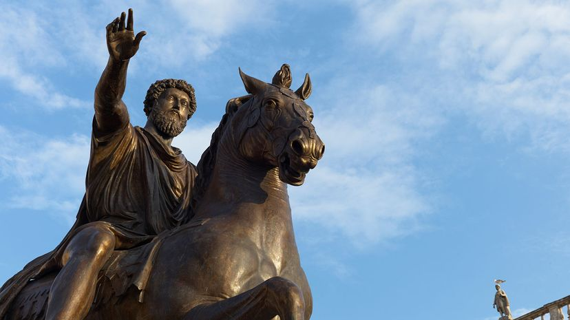 This statue in Rome shows Stoic emperor and philosopher Marcus Aurelius on horseback. Hans Georg Roth/Getty Images