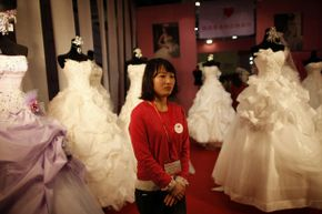Most bridal shows and wedding expos are held in late winter to precede prime wedding season by a few months. This photo was taken at the China International Wedding Expo in Shanghai in February 2012.