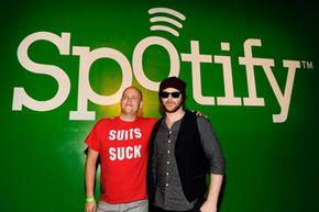 Spotify CEO Daniel Ek (left) and Entrepreneur Sean Parker pose at Sean Parker's Celebration of Music on Sept. 22, 2011 in San Francisco.