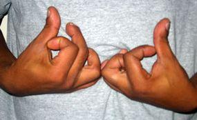 "hand symbol for ""blood"""