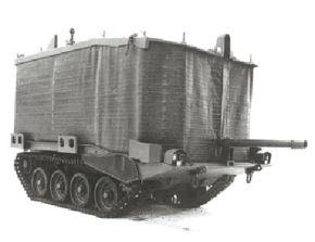 ©2007 Publications International, Ltd.                              Swedish turretless Stridsvagn 103 with flotation screen raised.
