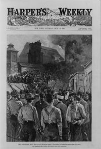 An engraving on the cover of Harper's Bazaar shows Pinkerton men leaving Homestead after surrendering to the strikers.