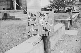A picket sign outside a Ducktown, Tennessee copper mine during on October 1939 strike.