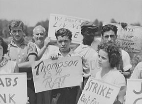 The picket line at the August 1938 King Farm strike in Morrisville, Pennsylvania.