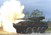 Cannon fire from a Stryker