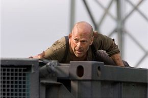 """Bruce Willis during a """"close-up"""" scene in """"Live Free or Die Hard."""""""
