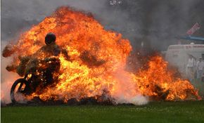 Days for stuntmen are long because stunts, especially involving fire, take hours to set up.