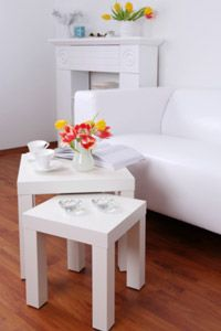 A small table combination like this one can be a useful space saver.