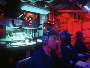 Sonar station onboard the USS La Jolla nuclear-powered attack submarine